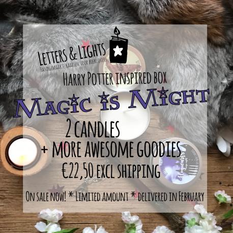 MAGIC is MIGHT – Een Harry Potter geïnspireerde kaarsenbox met goodies.